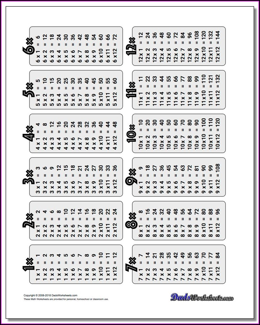 100 Times Table Answers