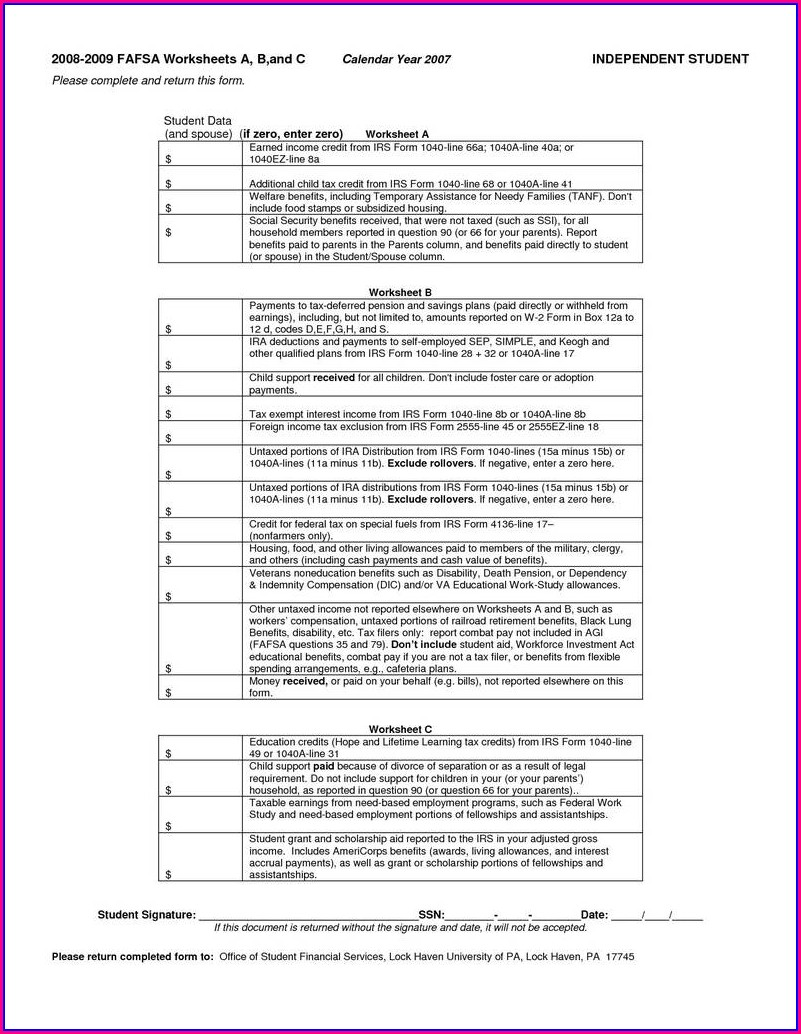 1040ez Form Worksheet On Back