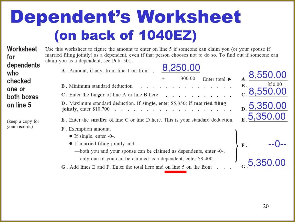 1040ez Worksheet On Back