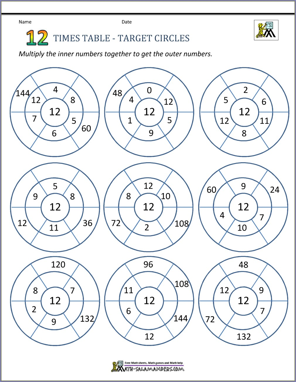 12 Times Tables Worksheets Answers