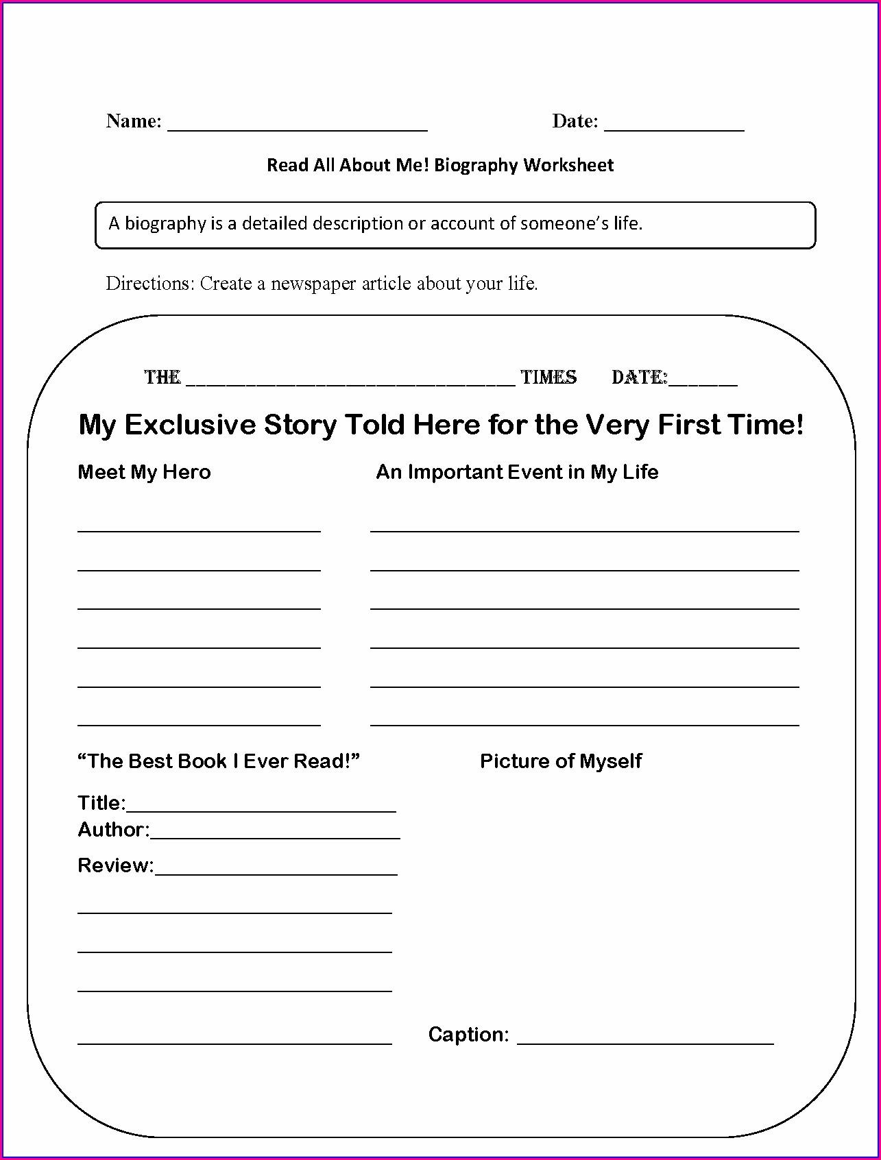 1st Grade Biography Worksheet
