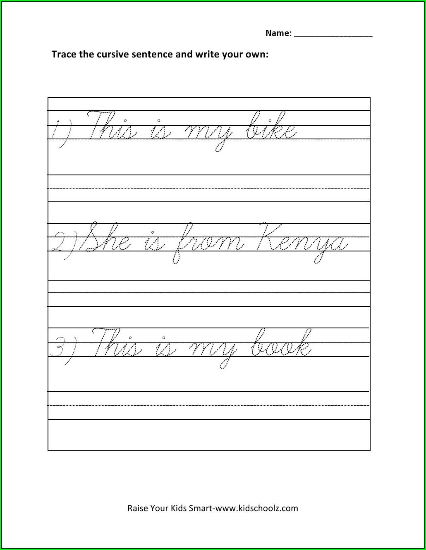 1st Grade Cursive Writing Sentences Worksheets Pdf