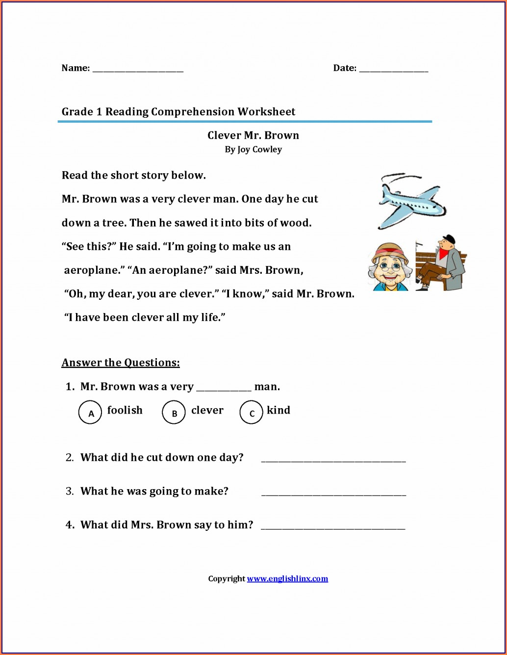 1st Grade First Grade Worksheets Reading