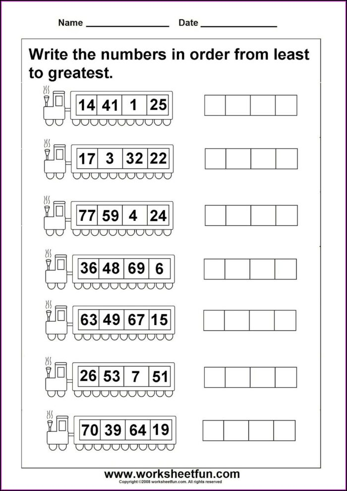 1st Grade Math Worksheets Number Order