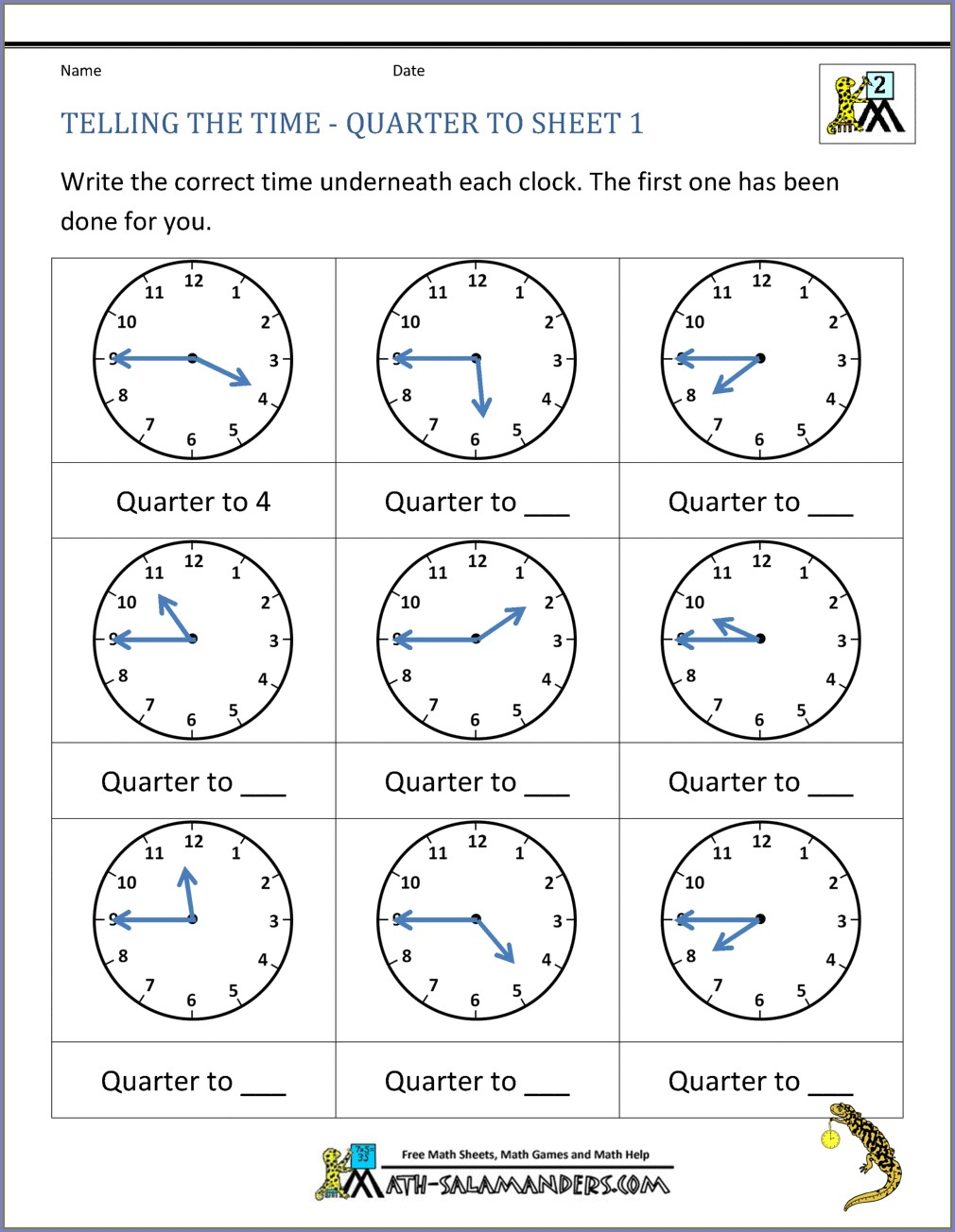 1st Grade Math Worksheets Telling Time