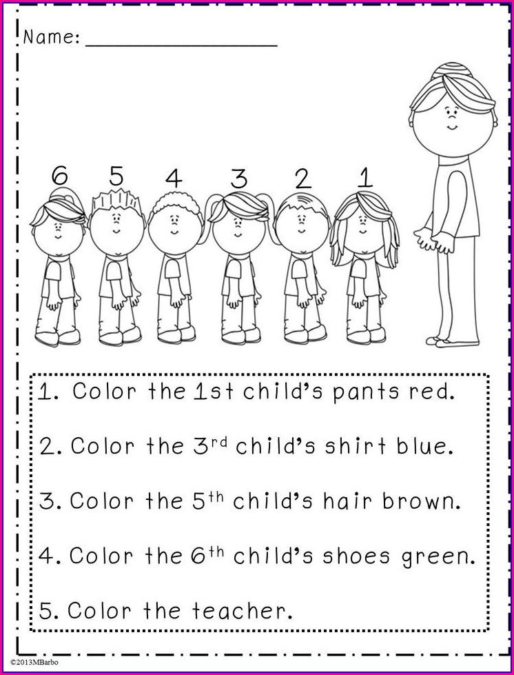 1st Grade Ordinal Numbers Worksheet