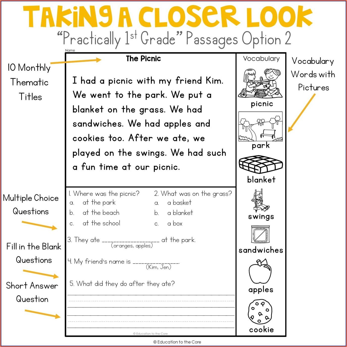 1st Grade Reading Comprehension Worksheet For Kindergarten
