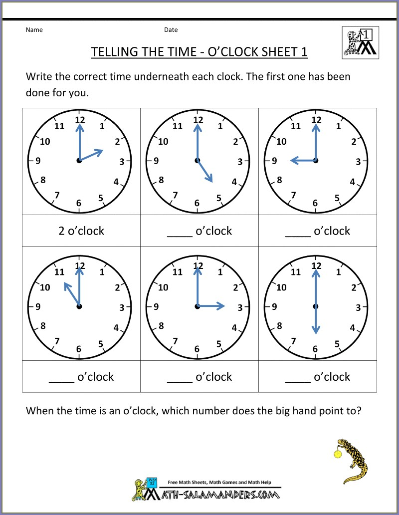 1st Grade Time Worksheet