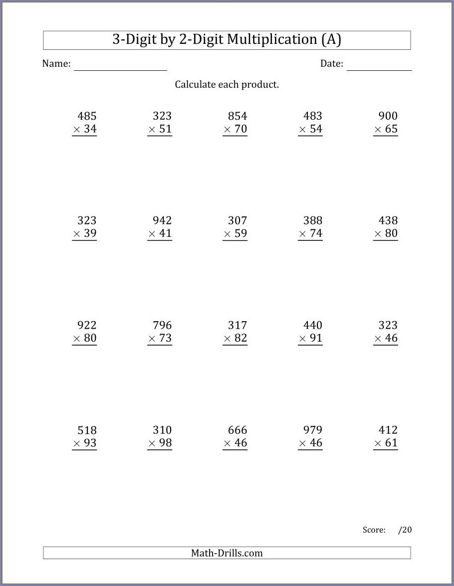 2 And 3 Digit Multiplication Worksheets