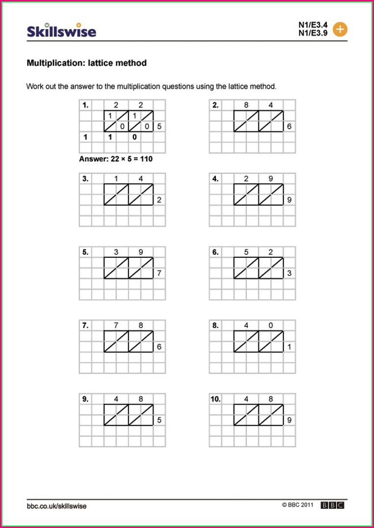 2 Digit Times 2 Digit Multiplication Worksheets