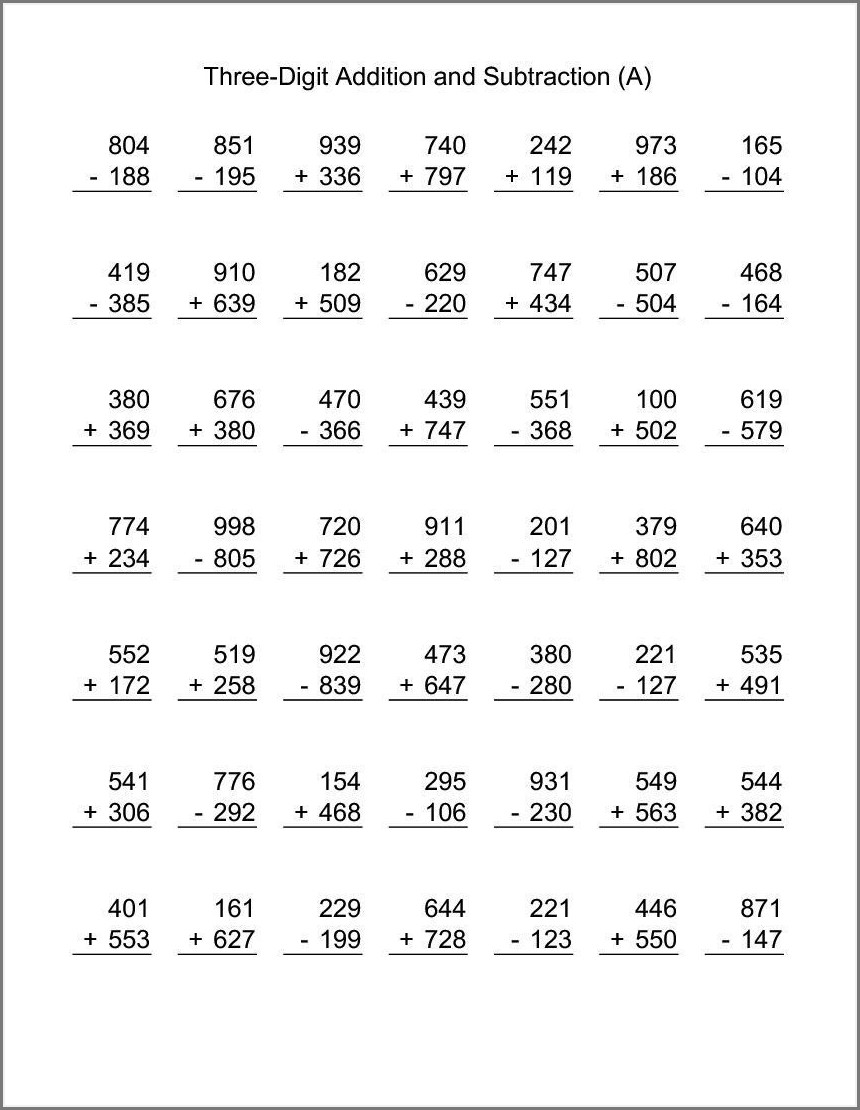 2nd Grade Addition And Subtraction Worksheets