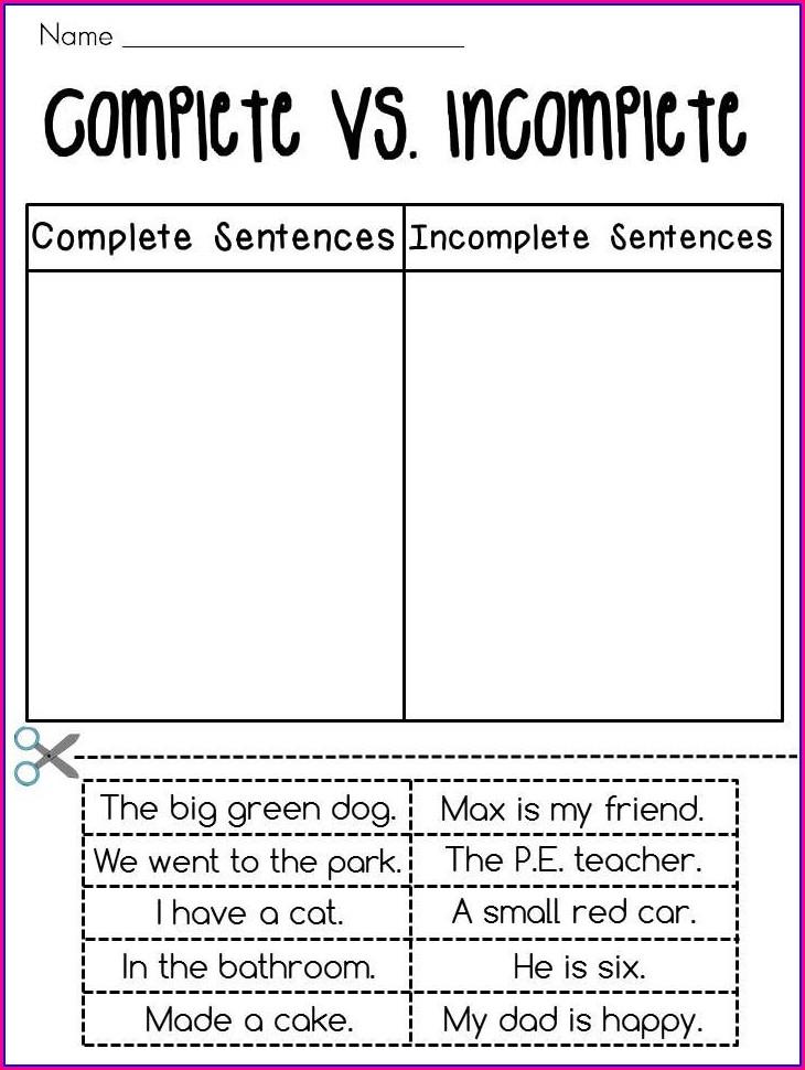 2nd Grade Complete Sentences Worksheets