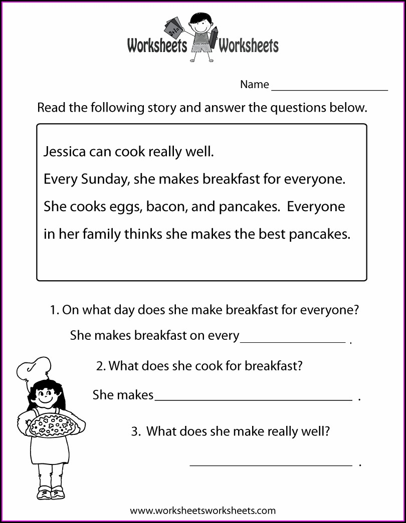2nd Grade Comprehension Worksheet Grade 3