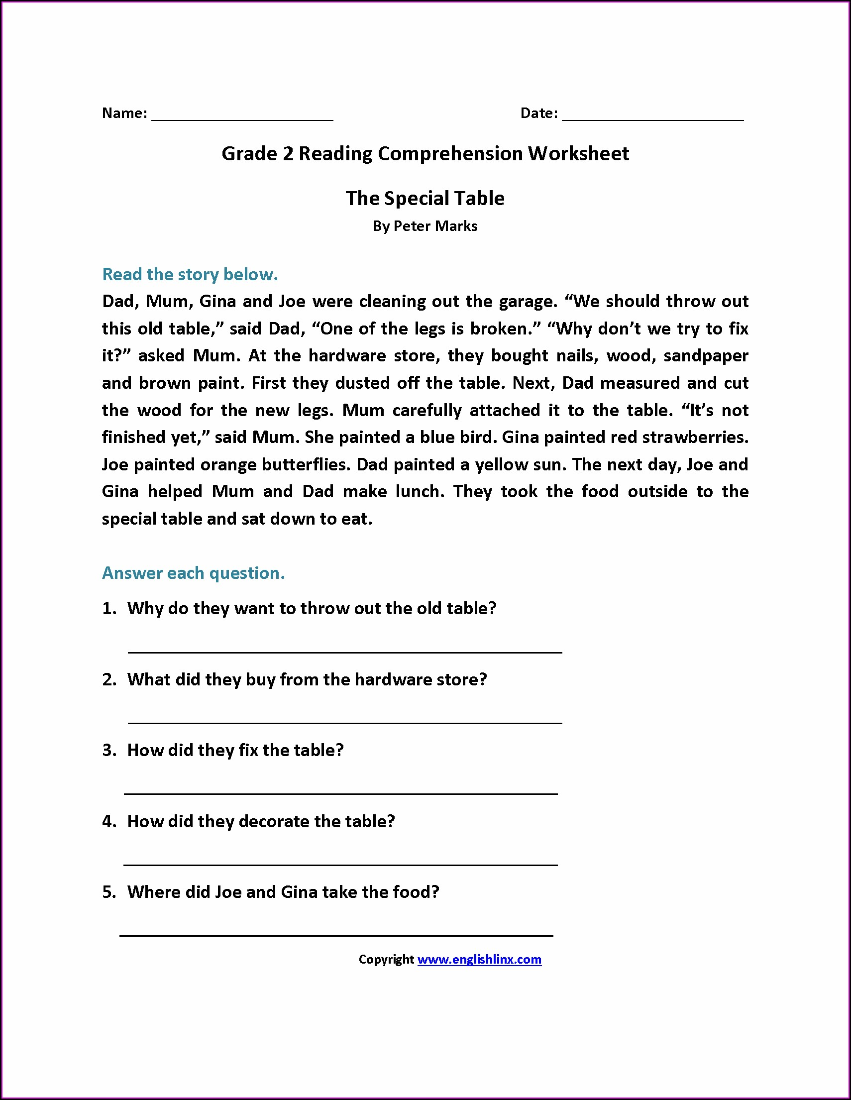2nd Grade Comprehension Worksheets For Grade 1