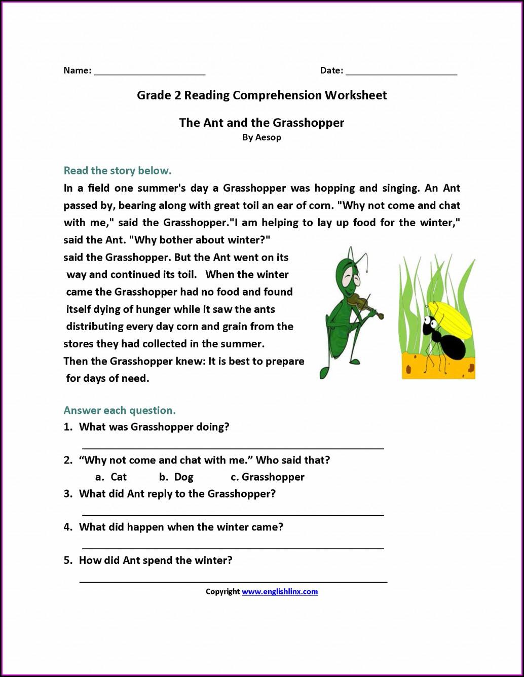 2nd Grade Comprehension Worksheets Pdf