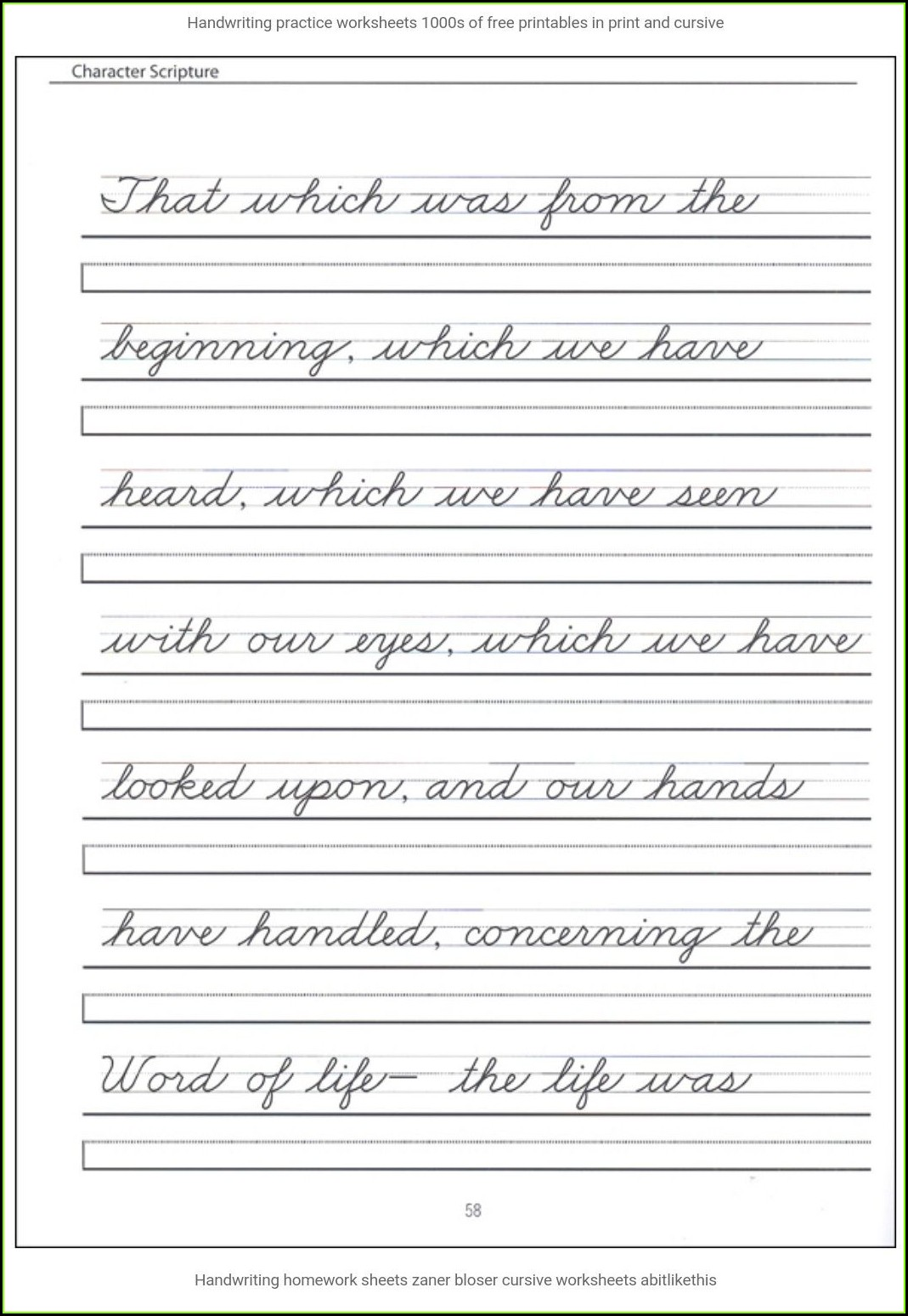 2nd Grade Cursive Writing Sentences Worksheets Pdf