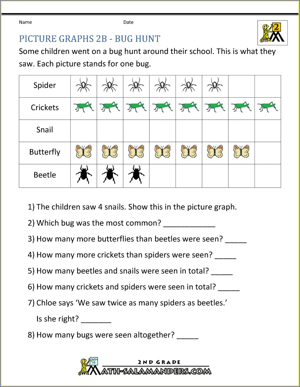 2nd Grade Data And Graphing Worksheets