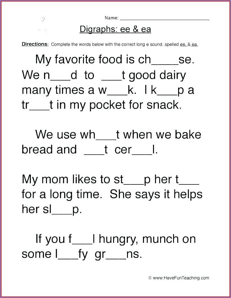 2nd Grade Diphthongs Worksheets Pdf