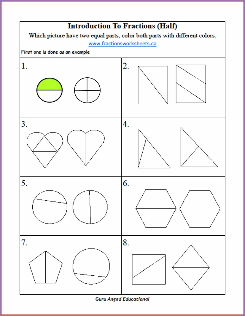 2nd Grade Fractions Worksheet Grade 2