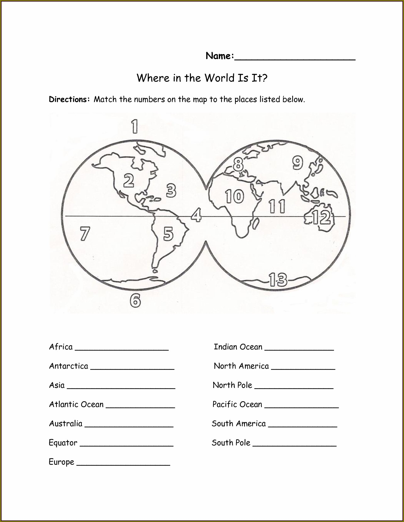 2nd Grade Free Printable Geography Worksheets