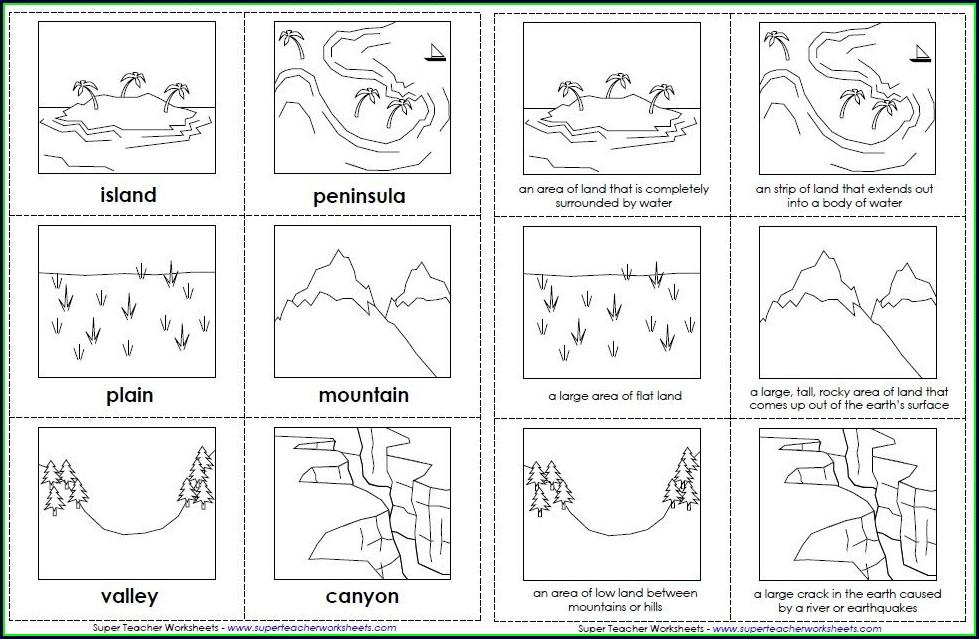 2nd Grade Free Printable Landforms Worksheets