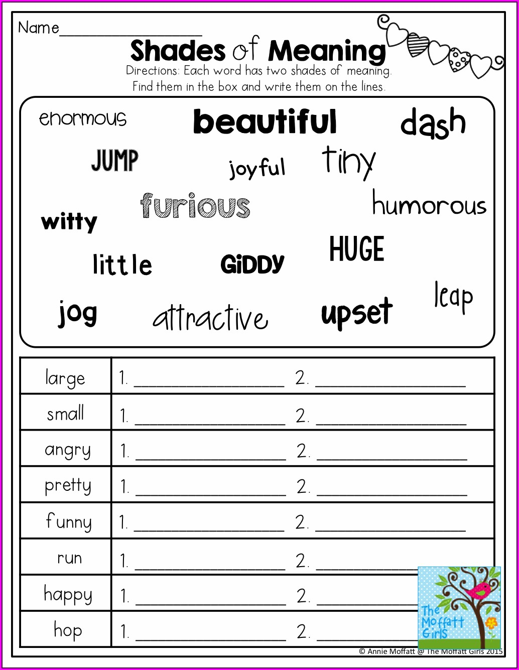 2nd Grade Grade 1 Synonyms Worksheet