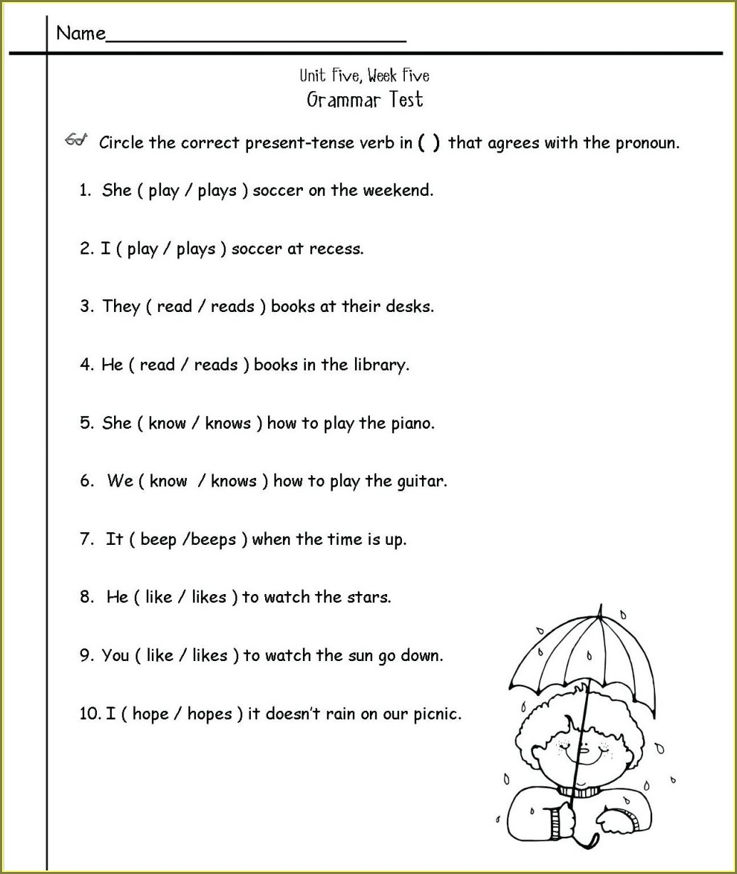 2nd Grade Grammar For Kids Worksheets Free Pdf