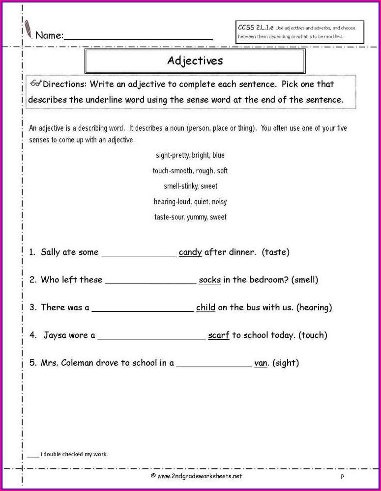 2nd Grade Grammar Worksheets Adjectives