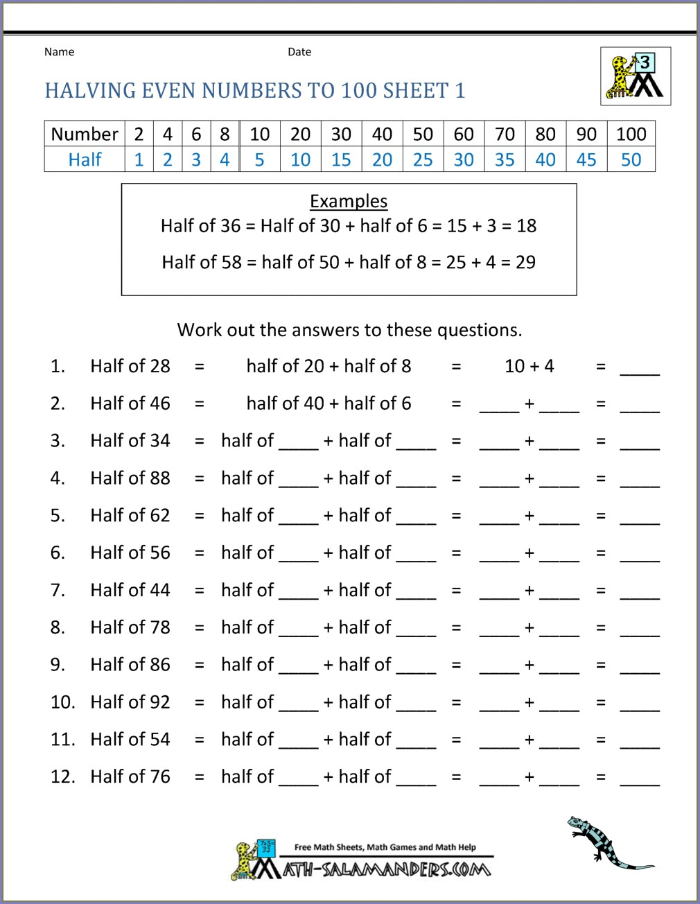 2nd Grade Halves And Quarters Worksheet