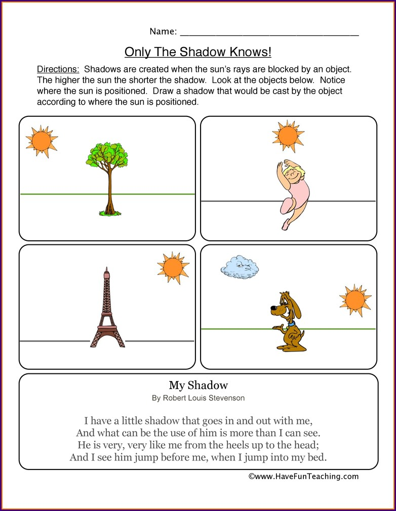 2nd Grade Light And Shadow Worksheets Grade 2