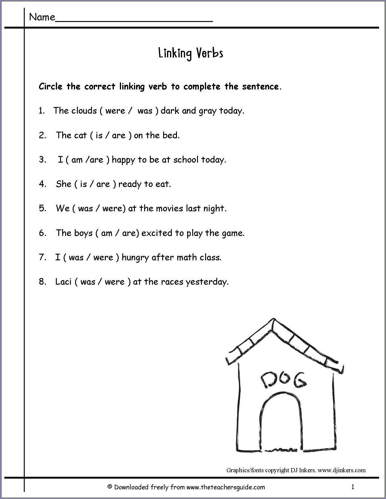 2nd Grade Linking Verbs Worksheet