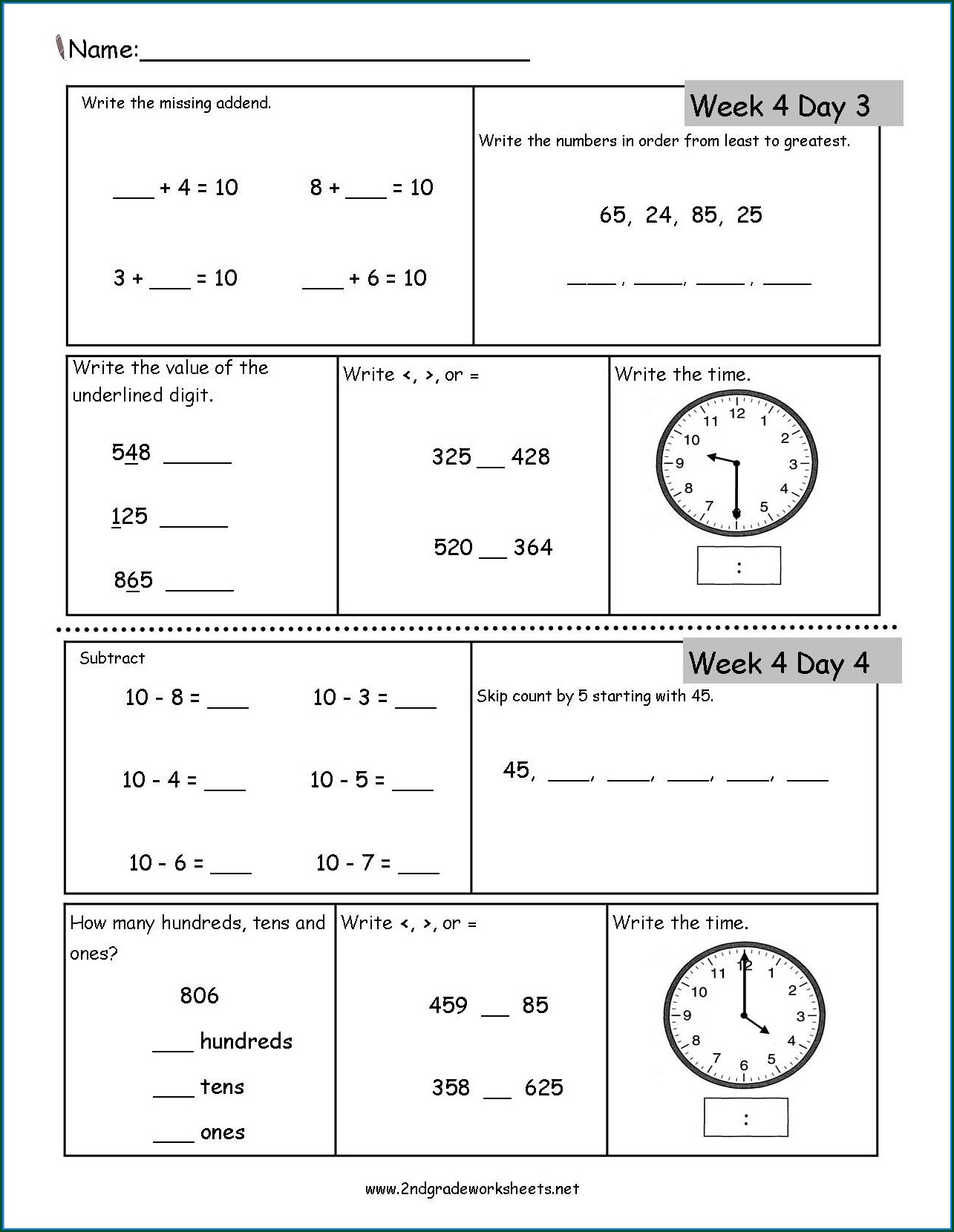2nd Grade Math Worksheet Second Grade