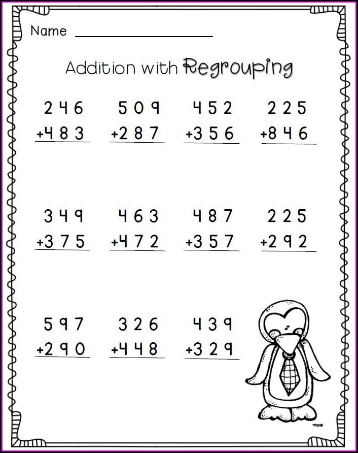 2nd Grade Math Worksheets 3 Digit Addition With Regrouping