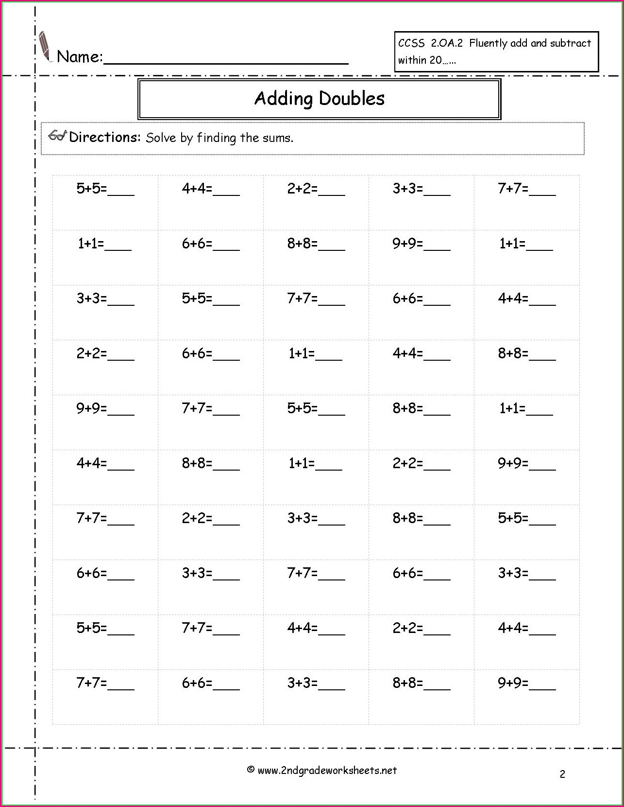 2nd Grade Multiplication And Division Worksheets Grade 2