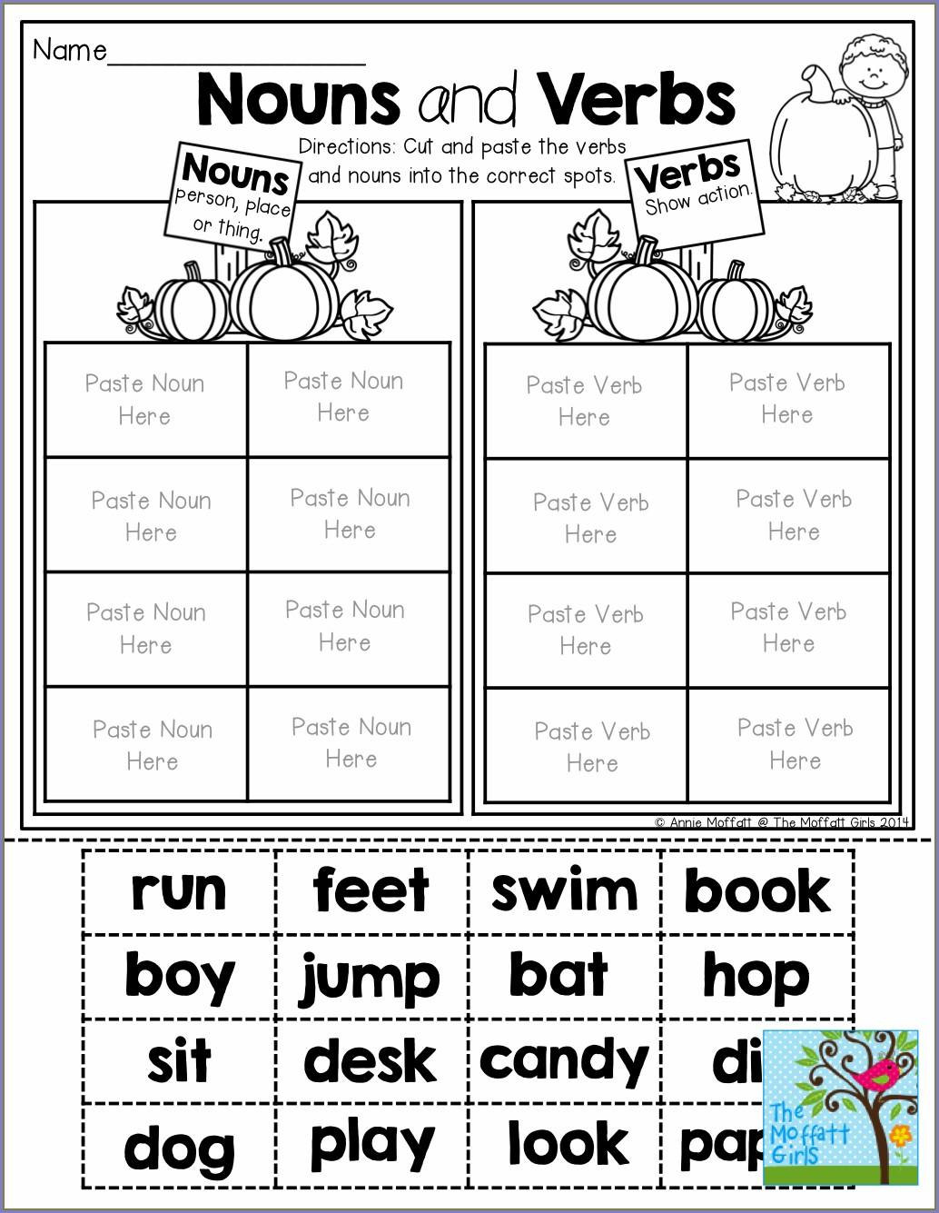 2nd Grade Nouns And Verbs Worksheet