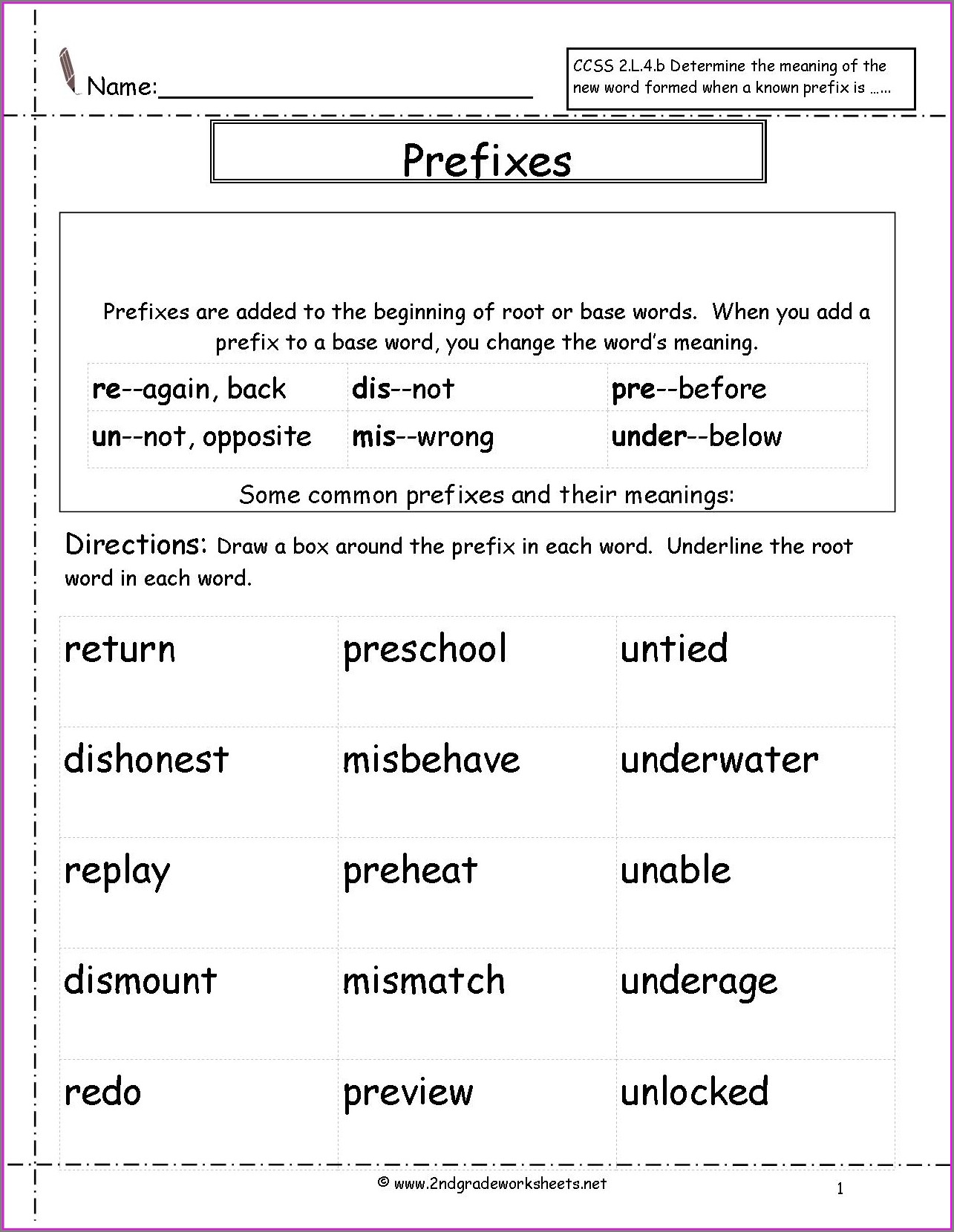 2nd Grade Prefix Practice Worksheet