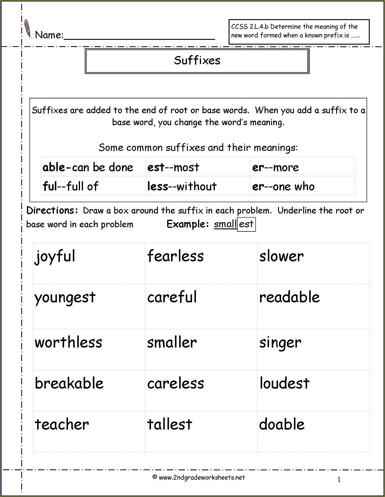 2nd Grade Prefix Worksheet Free