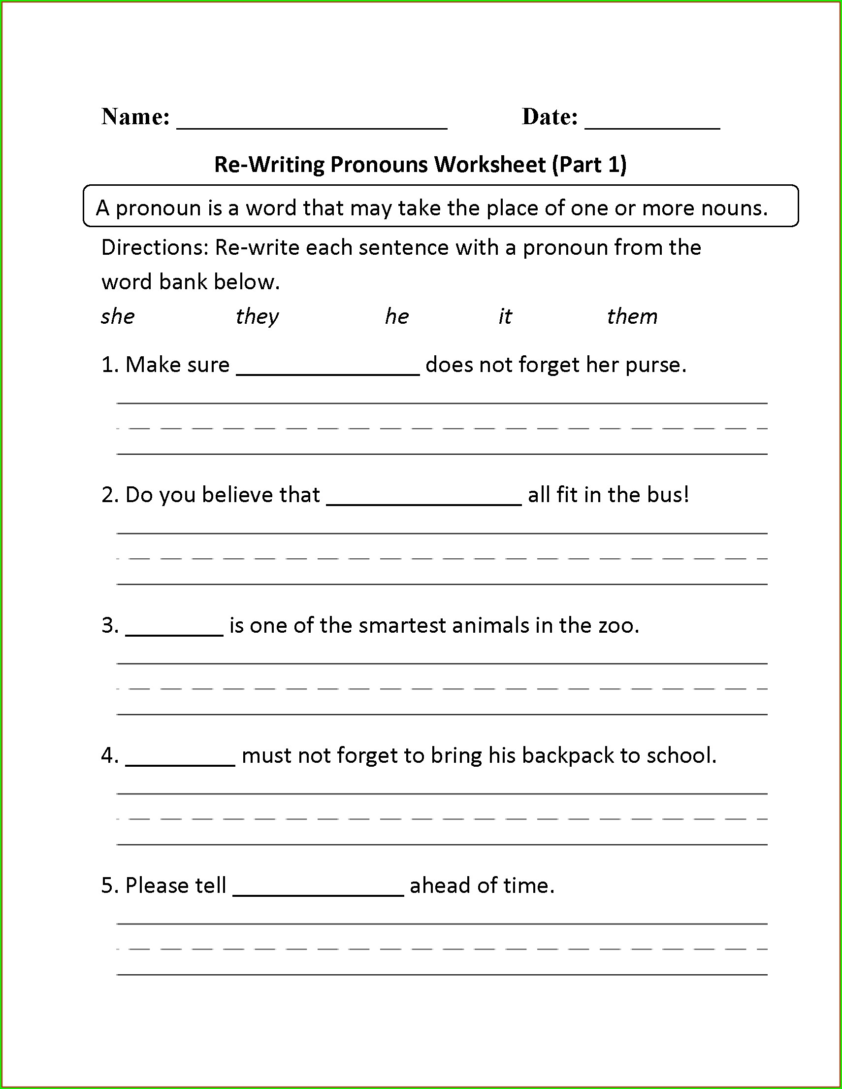 2nd Grade Pronouns Worksheet For Grade 2