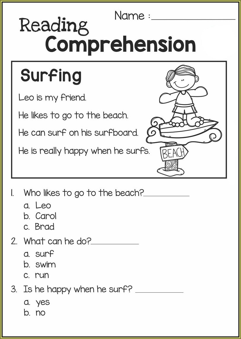 2nd Grade Reading Worksheets With Answer Key