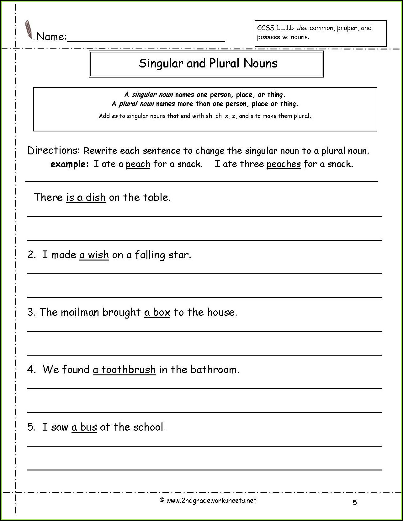2nd Grade Singular And Plural Nouns Sentences Worksheets