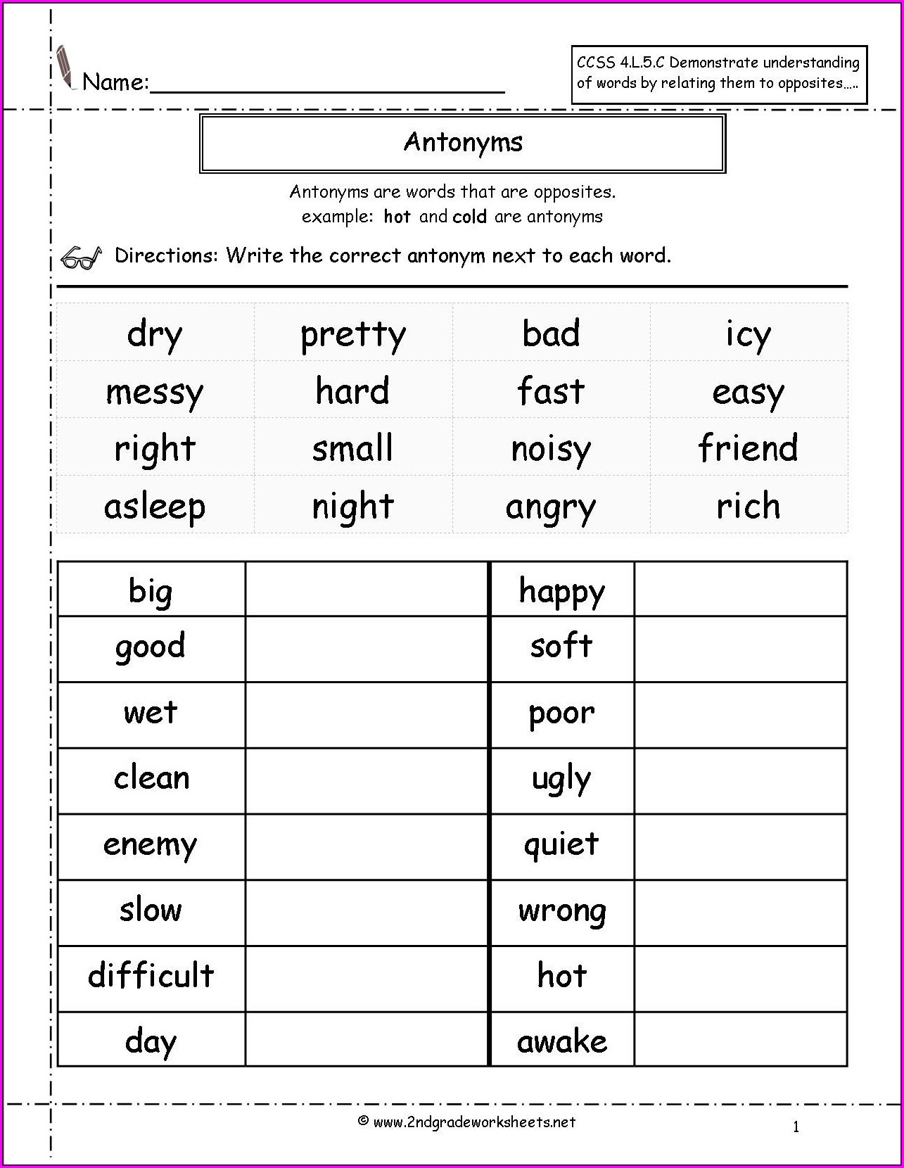 2nd Grade Synonyms Worksheet For Class 2
