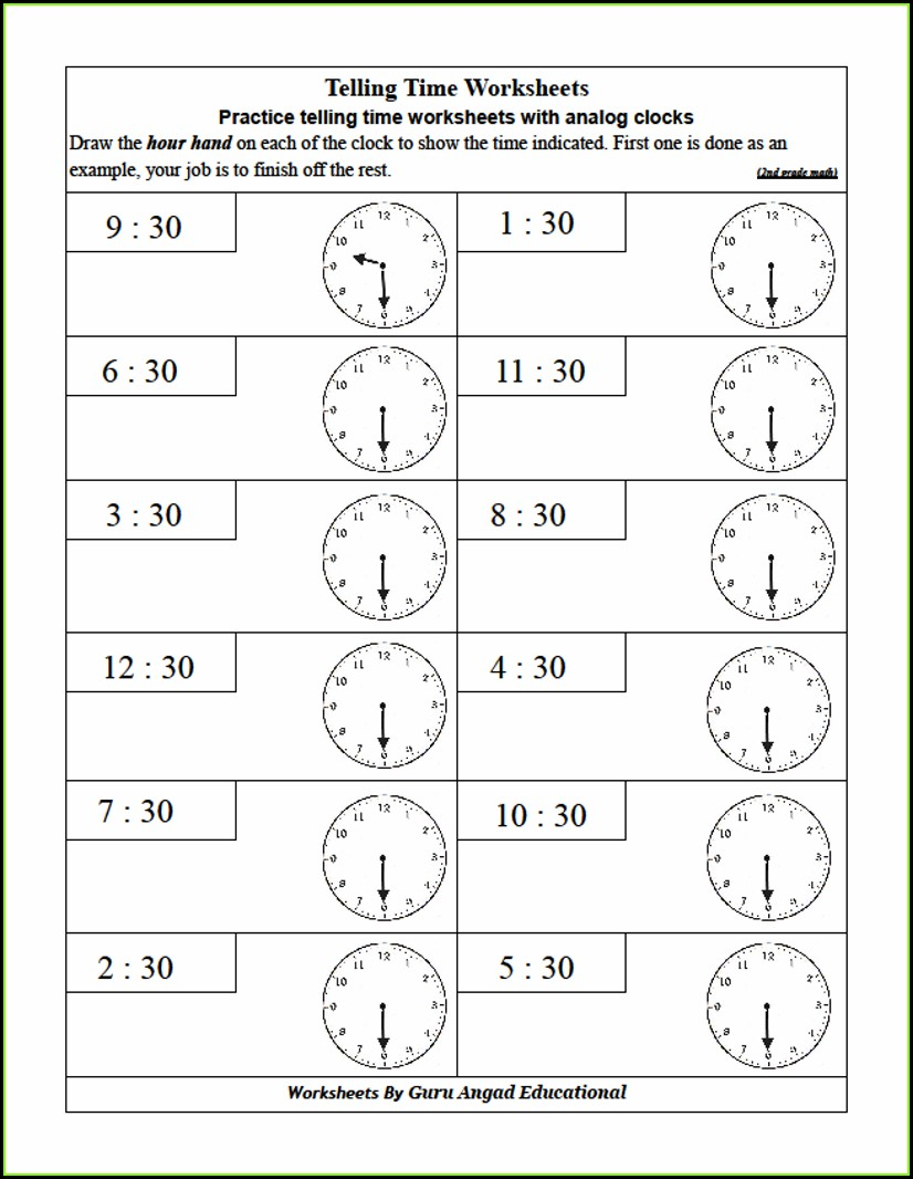2nd Grade Telling Time Worksheets Grade 2 Pdf