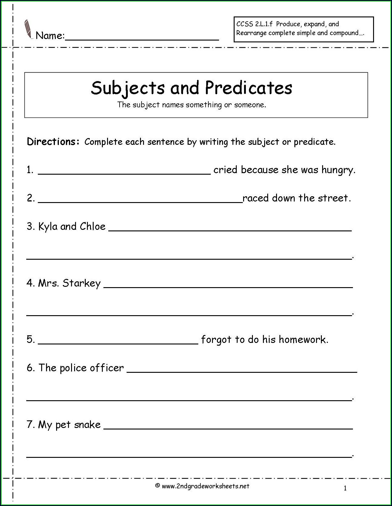 2nd Grade Worksheet On Subjects