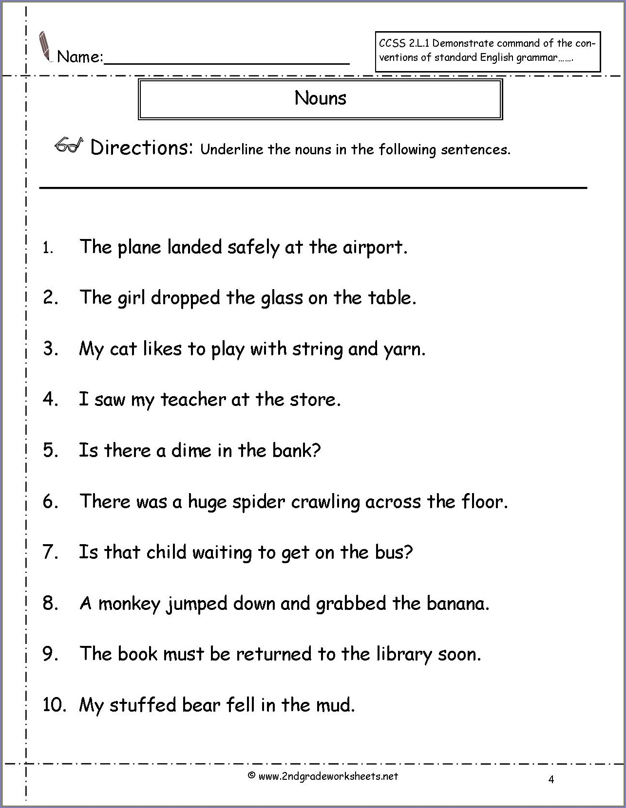 2nd Grade Worksheets For Pronouns For Grade 2