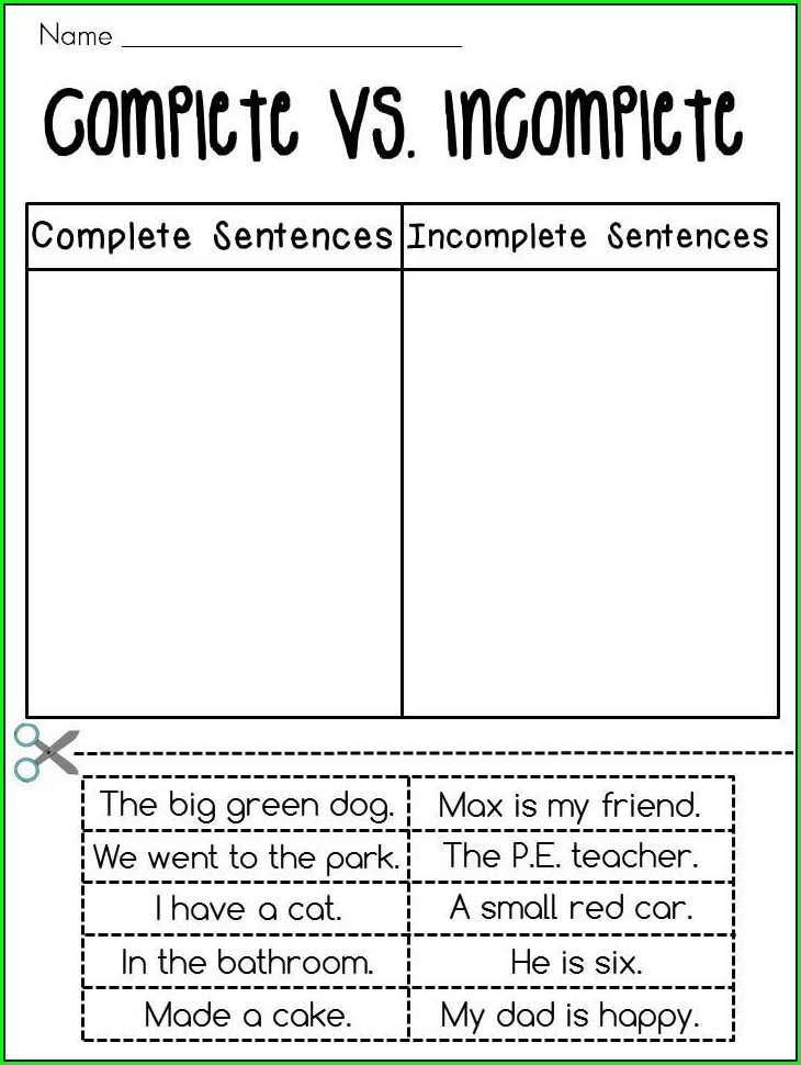 2nd Grade Writing Complete Sentences Worksheets