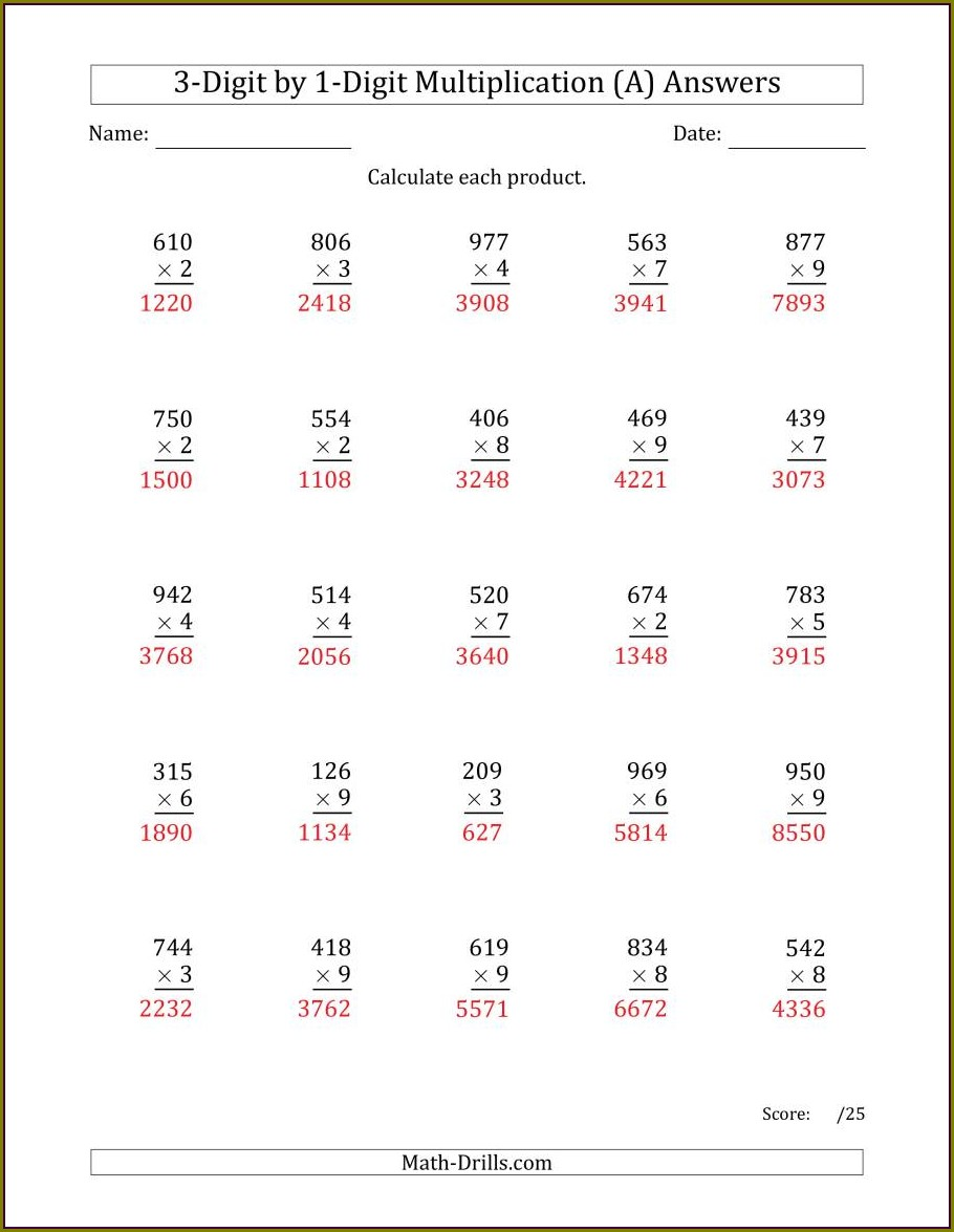 3 Digit Multiplication Worksheet For Class 3