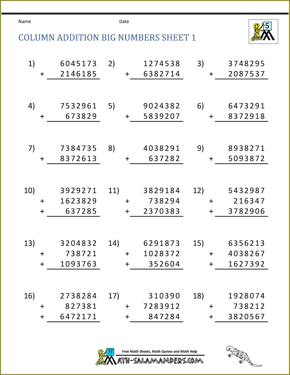 3 Number Addition And Subtraction Worksheets