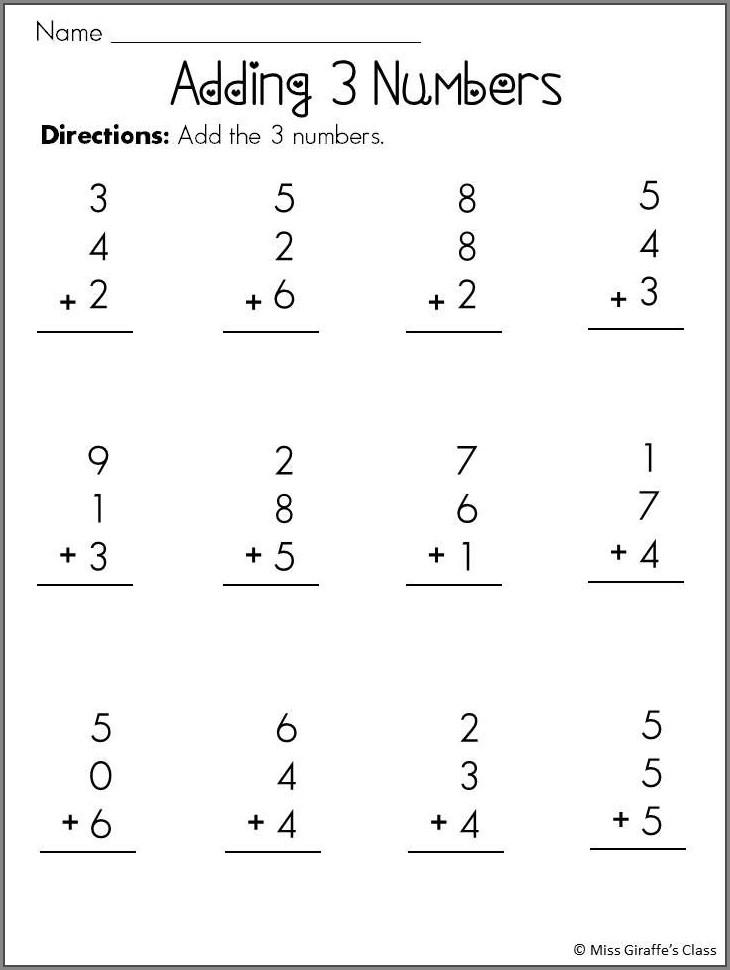3 Number Addition Worksheets 1st Grade