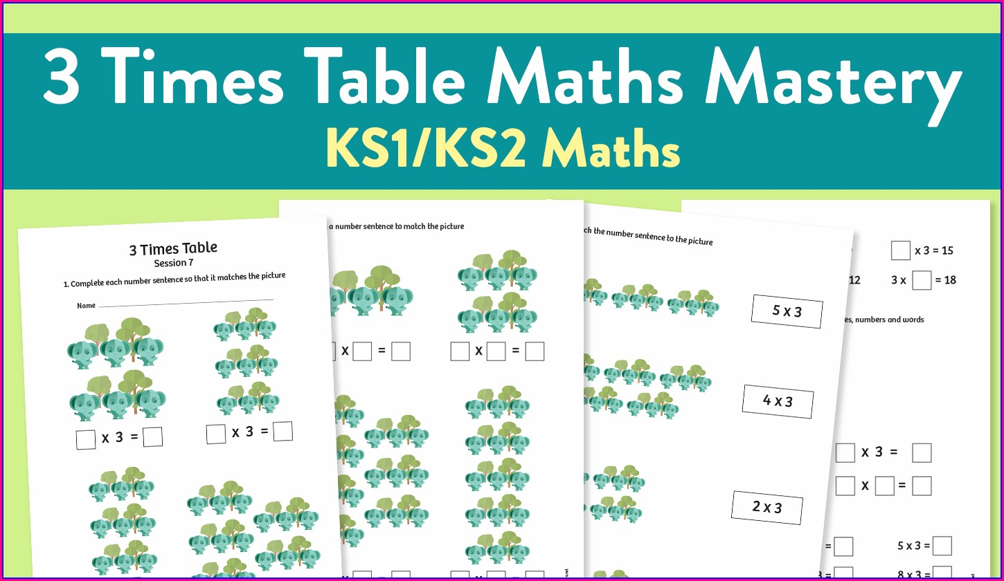3 Times Table Worksheet Ks2