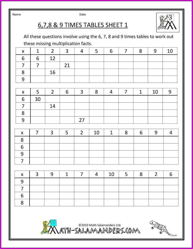 3rd Grade 7 Times Tables Worksheets